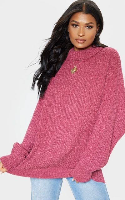 f560c3f5d34 Pink Oversized Boucle Knit Jumper