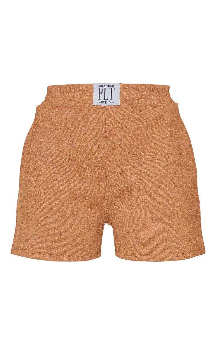 PRETTYLITTLETHING Camel Ribbed Lounge Shorts 6