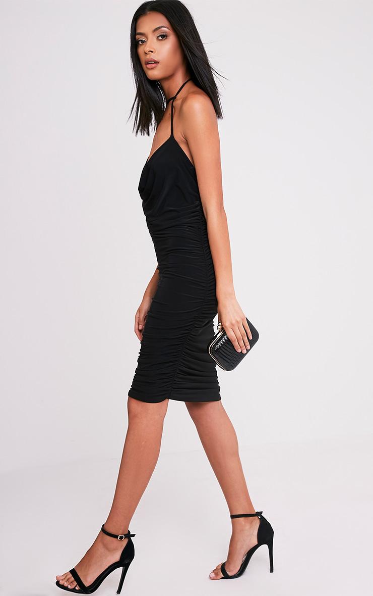 Larna Black Slinky Halter Cowl Neck Midi Dress 5