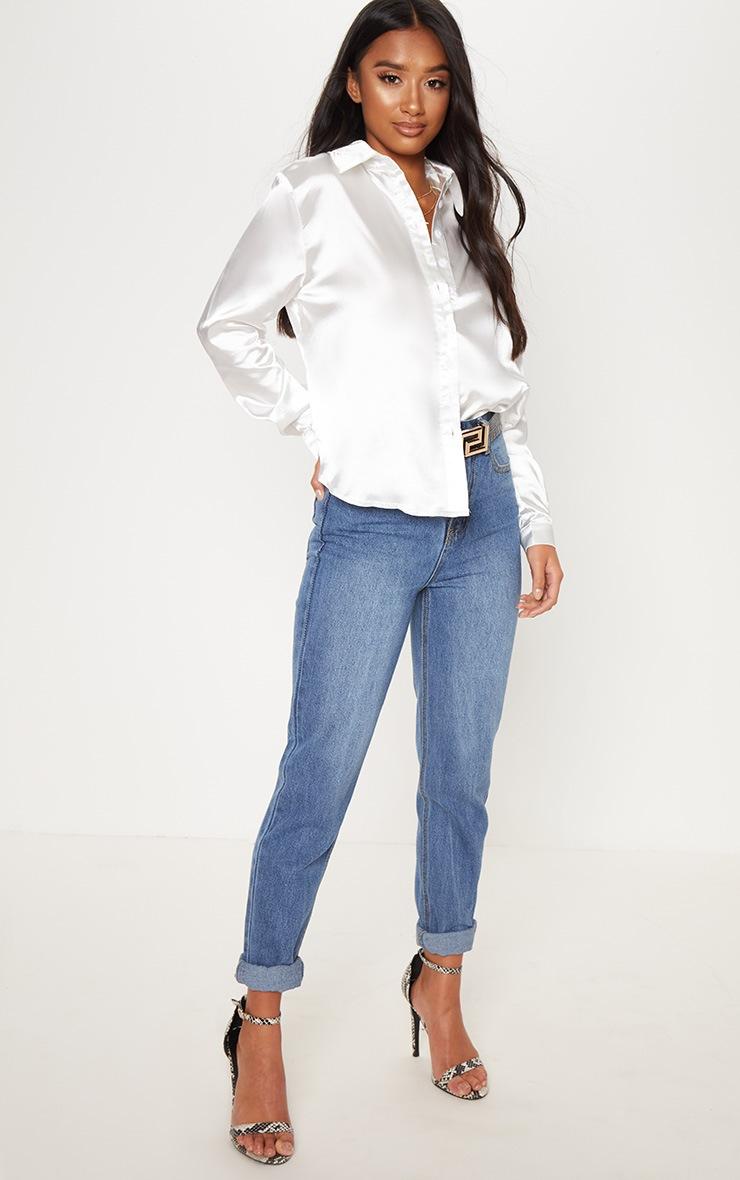 Petite White Satin Shirt 4