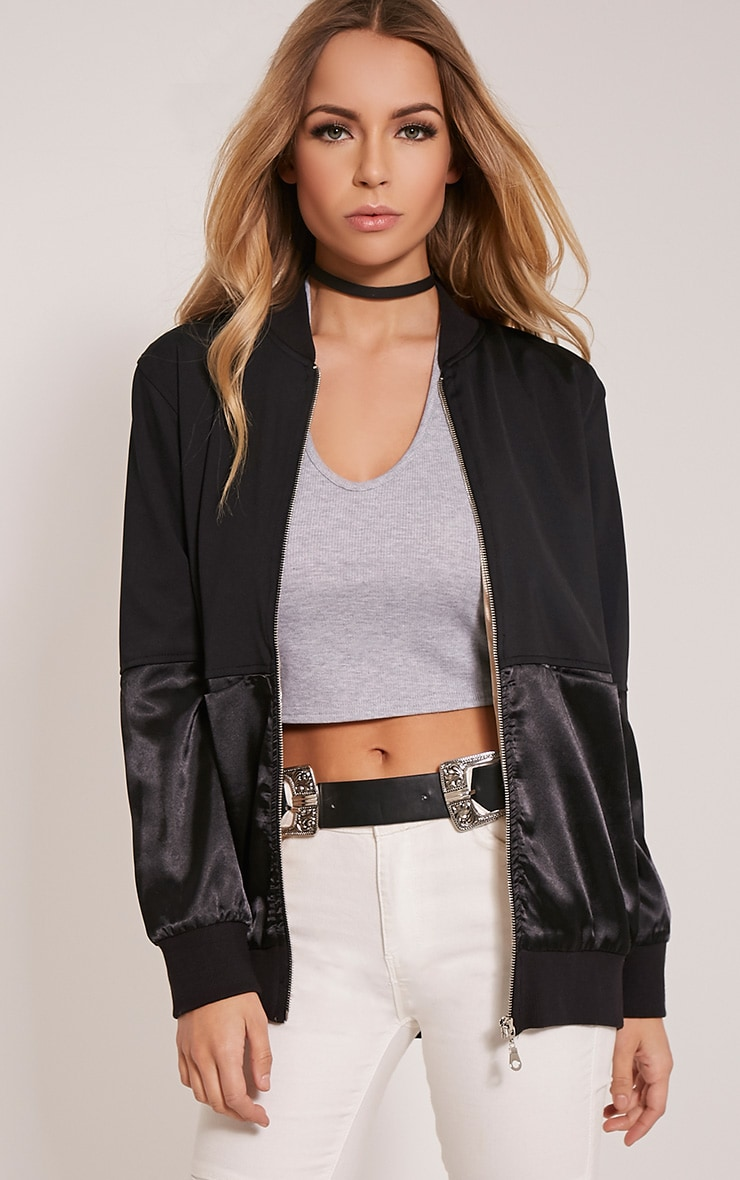 Eva Black Satin Panel Scuba Bomber Jacket 1