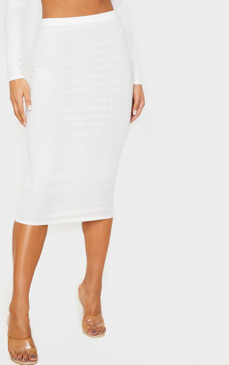 Cream Ribbed High Waist Midi Skirt 2