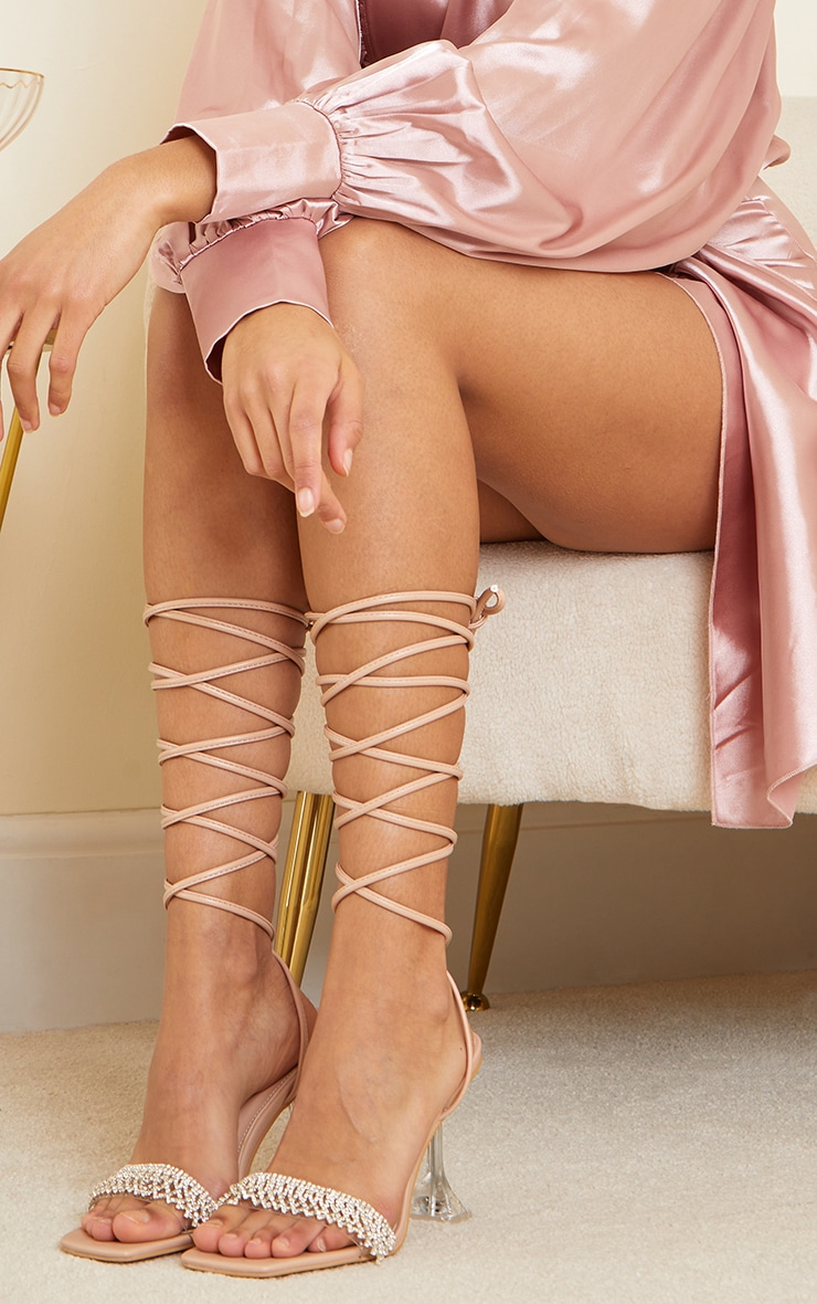Nude Diamante Trim Lace Up Cake Stand High Heels 2