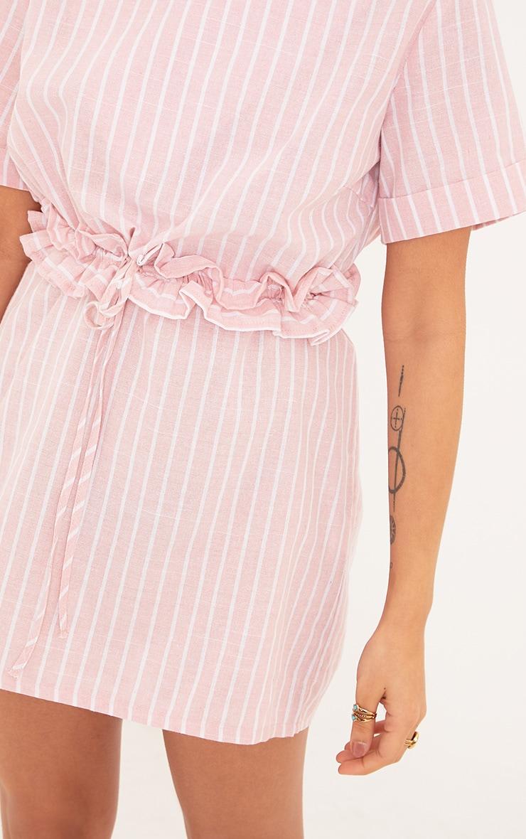 Kendrick Pink Pinstripe Frill Waist Detail Shift Dress 5