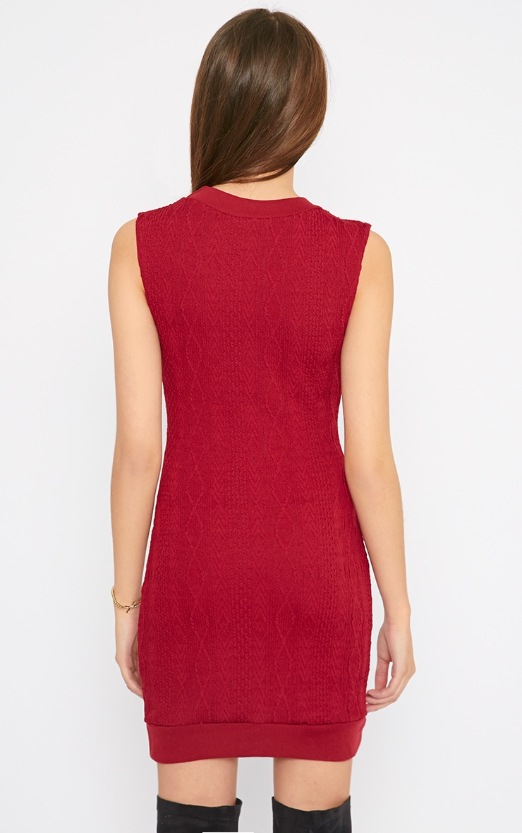 Darcie Red Cable Knit Textured Sleeveless Dress 2