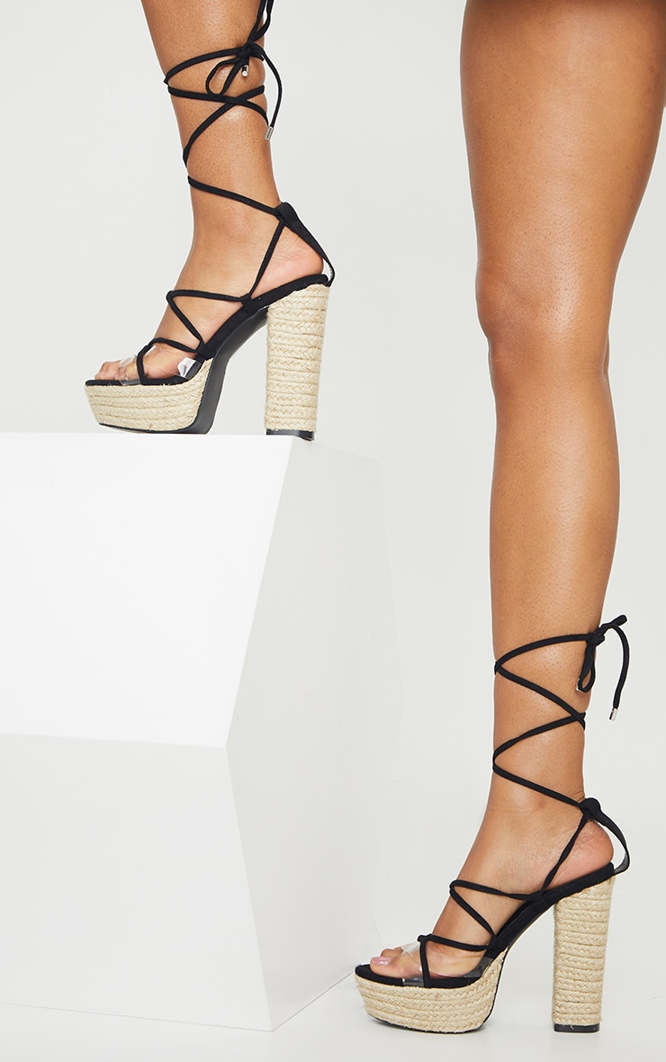 Black Espadrille Platform Ghillie Lace Up Sandal 2