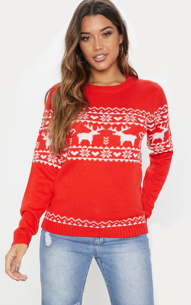 Red Christmas Knitted Fairisle Jumper