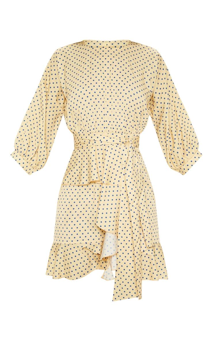 Yellow Printed Chiffon Skater Dress  3