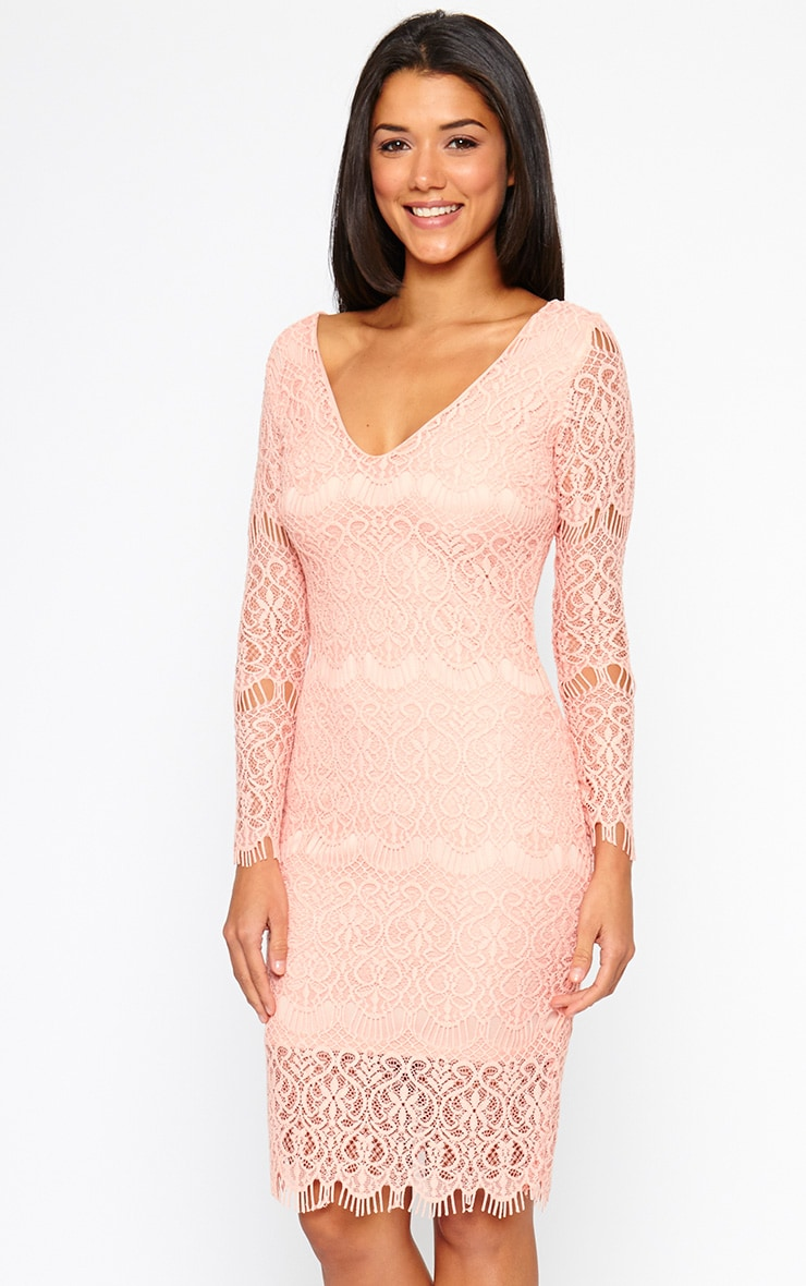 Lenix Coral Lace Midi Dress 4