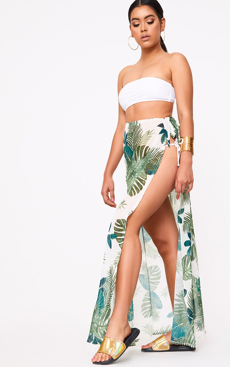 White Chiffon Palm Print Beach Maxi Skirt 5