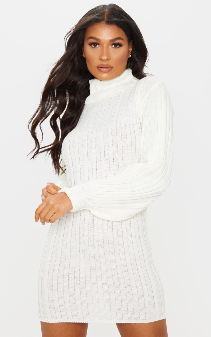 Cream Roll Neck Ribbed Knitted Sweater Dress 1