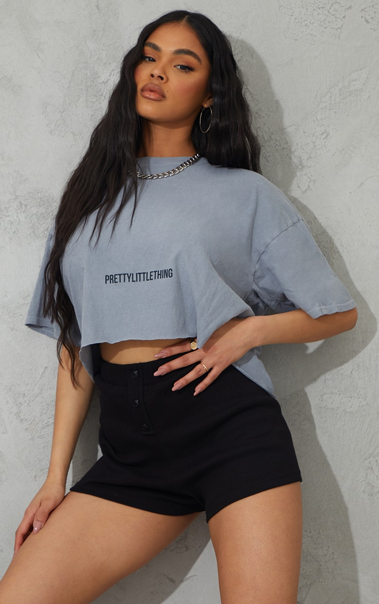 PRETTYLITTLETHING Grey Small Text Print Washed Crop T Shirt