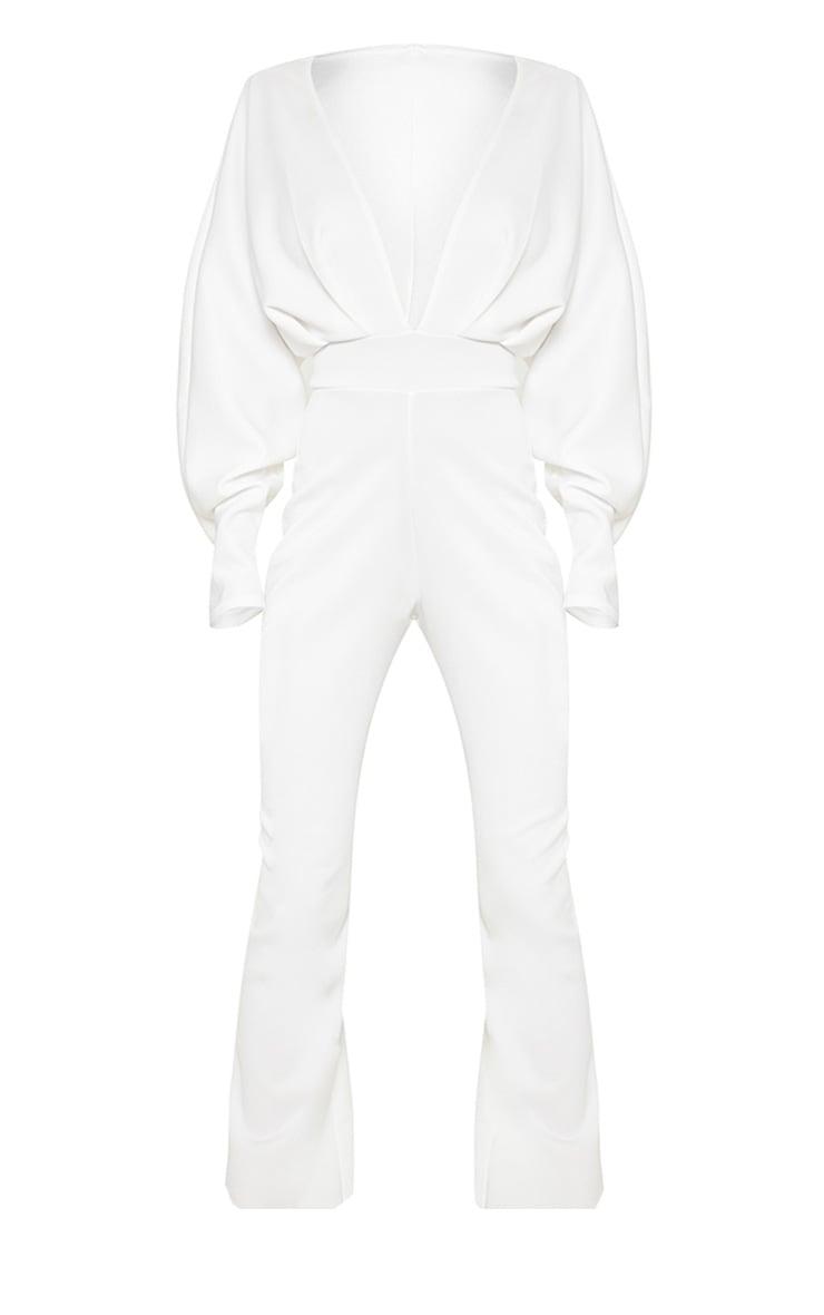 White Pleated Balloon Sleeve Jumpsuit 3