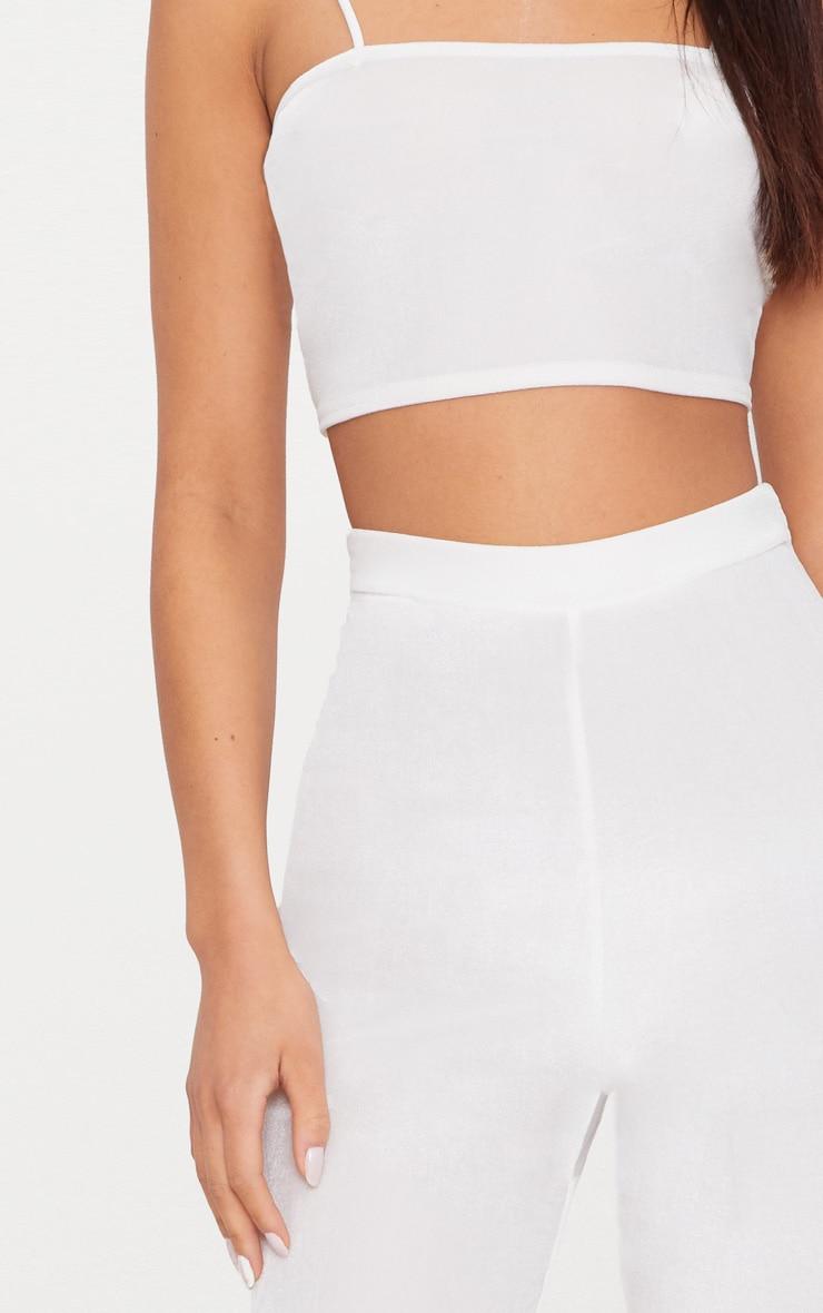 Cream Velvet Flared Trousers 5