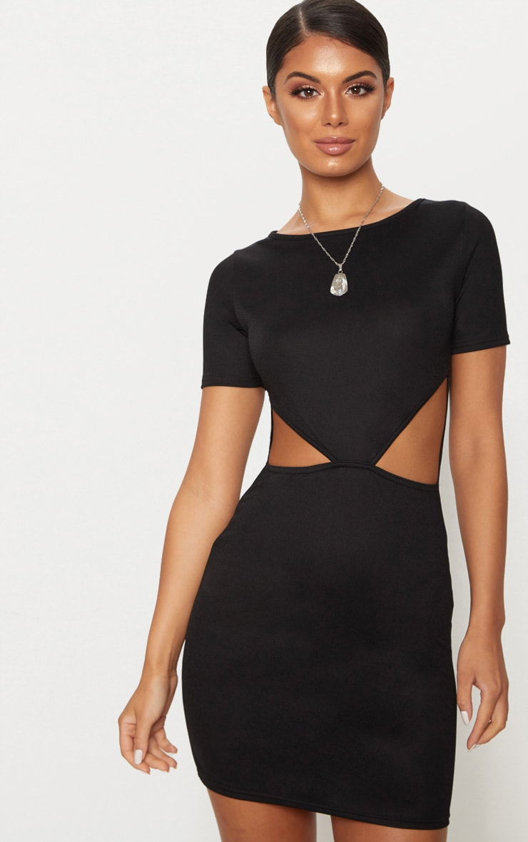 Black Short Sleeve V Cut Out Bodycon Dress 1