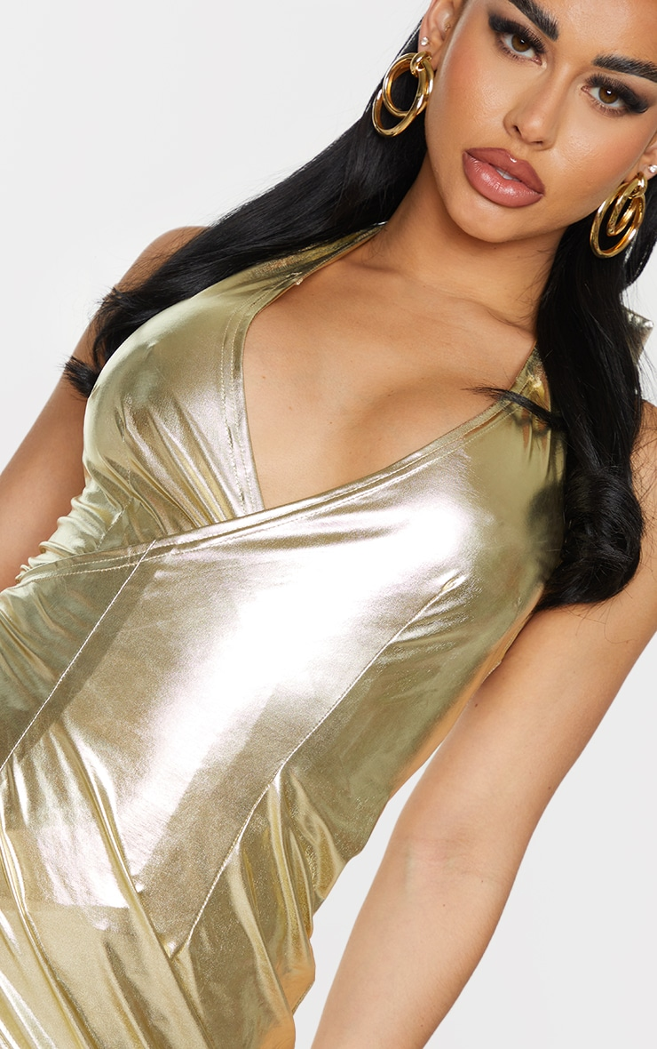 Shape Gold Metallic Halterneck Wrap Detail Bodycon Dress 4