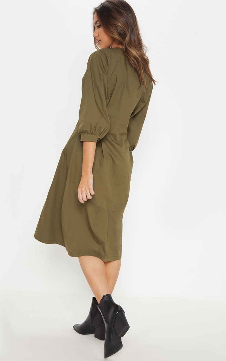 Khaki Button Front Midi Pleated Waist Dress 2