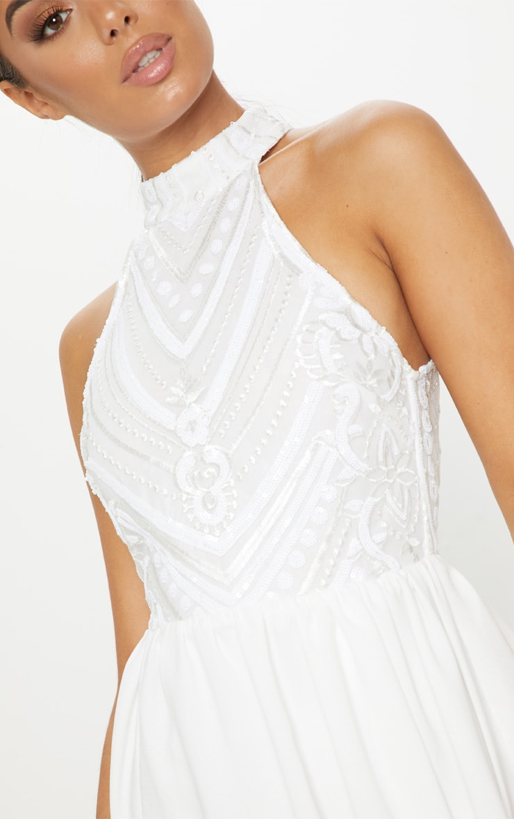 eb2b74d68babe White Sequin Top High Neck Maxi Dress