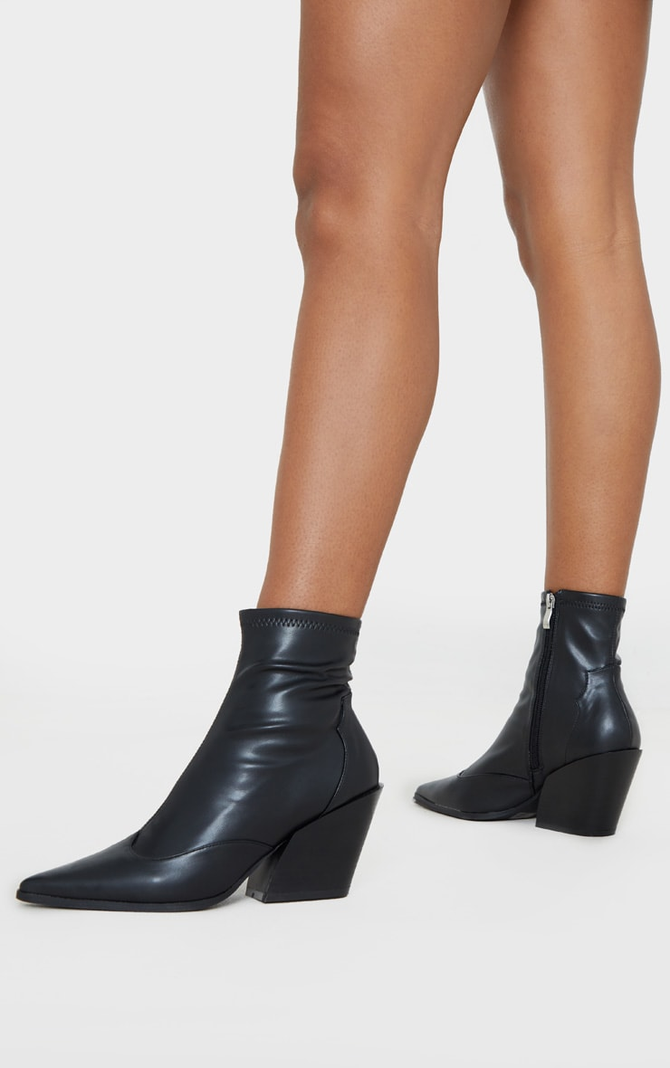 Black Point Toe Sock Ankle Western Boot 1