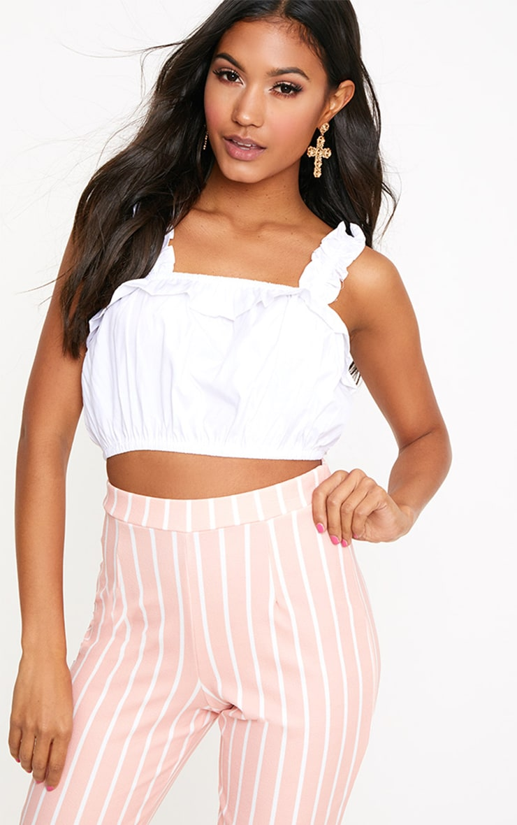 White Frill Crop Top 1