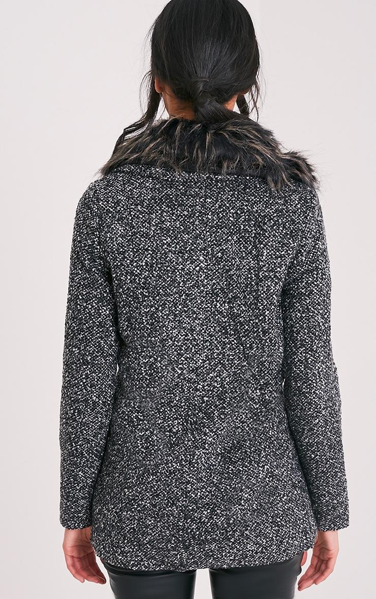 Jenifa manteau boucle gris avec col en fausse fourrure 2