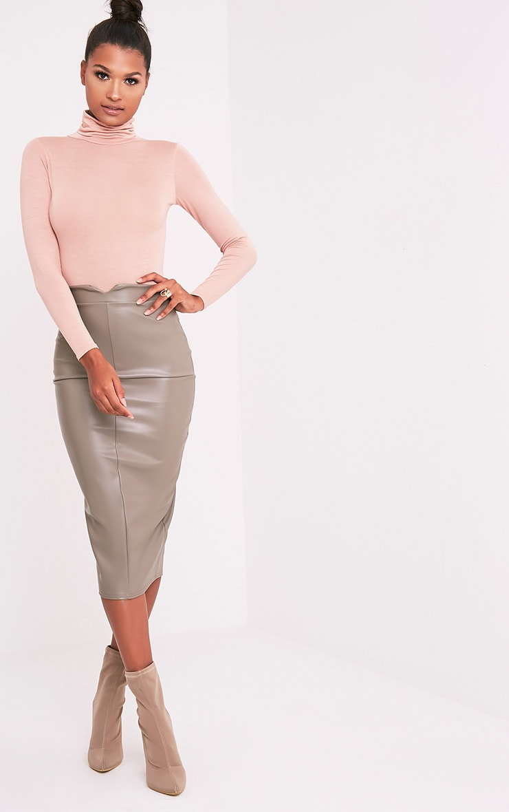 81e3df5640b Eva Taupe Faux Leather Panel Midi Skirt image 1