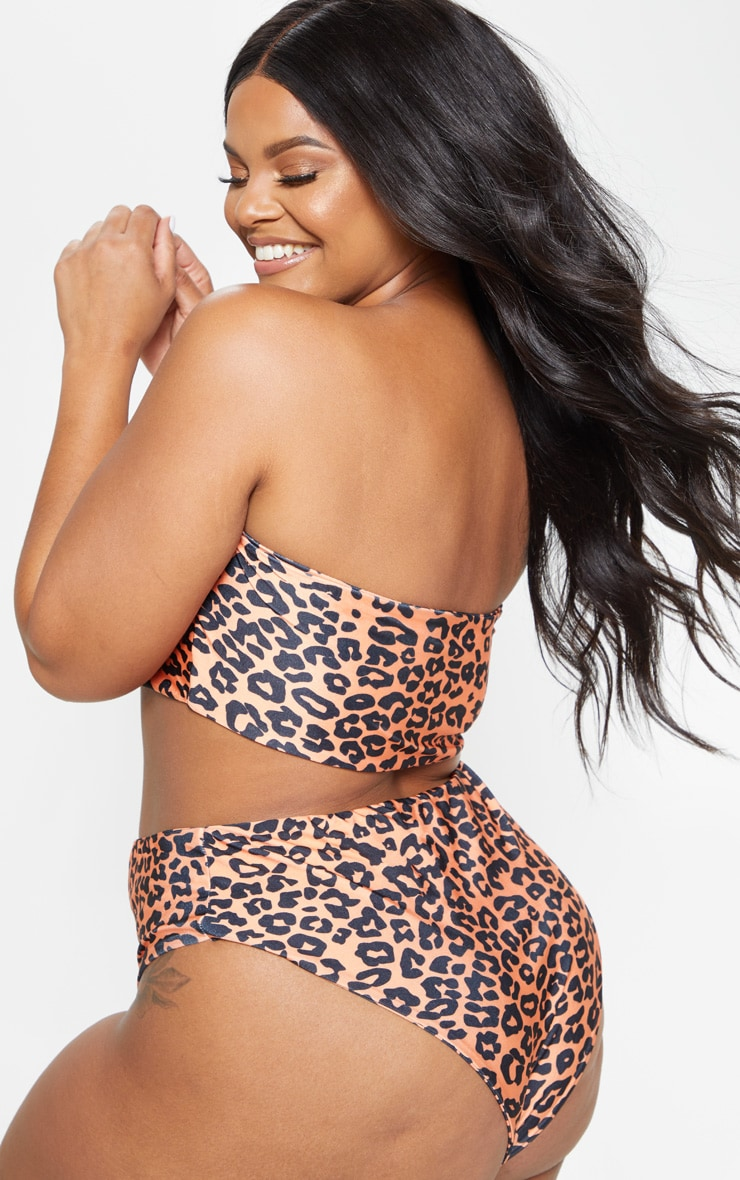 Plus Orange Leopard Print Bandeau Bikini Top 2