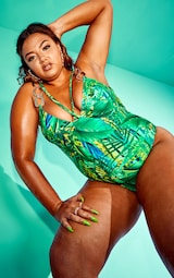 Plus Green Tropical Gold Trim Underwired Swimsuit 3