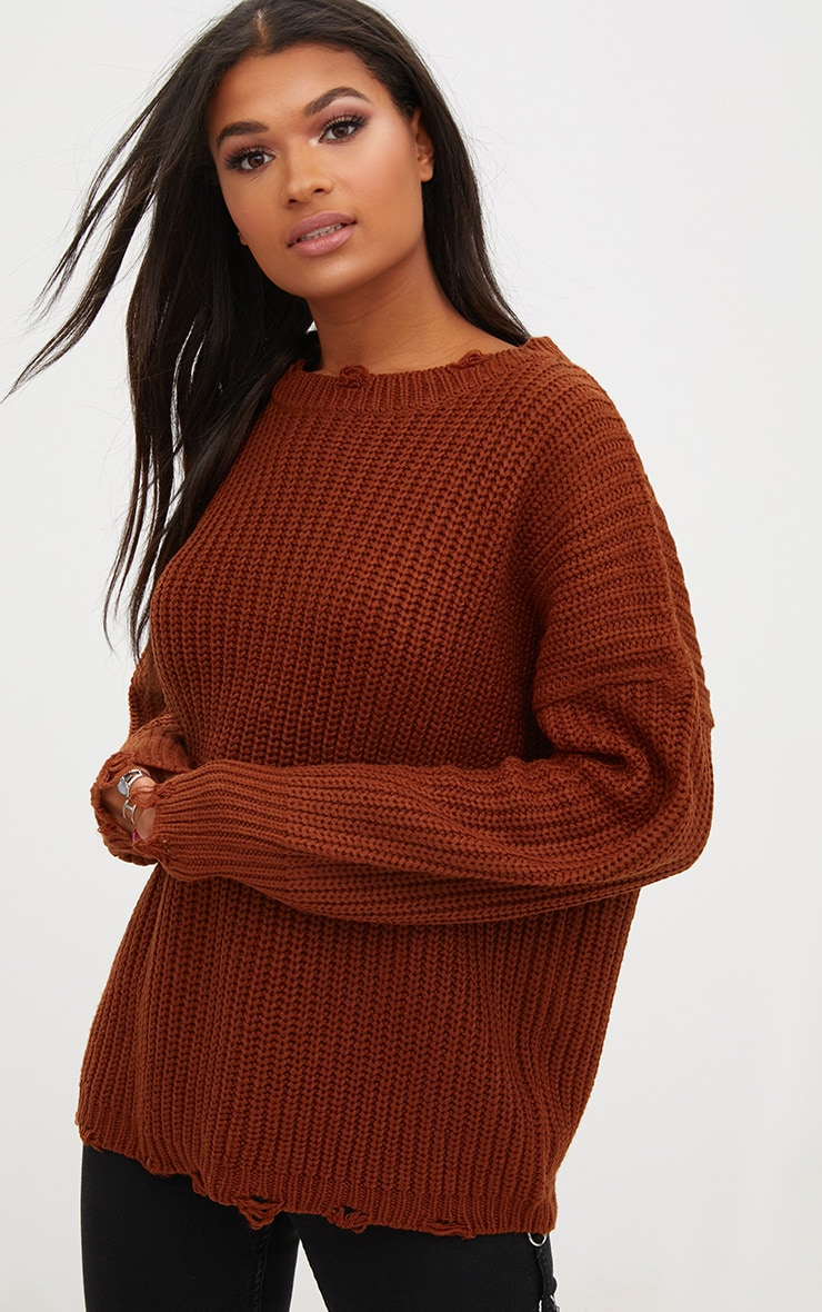 Rust Oversized Distress Detail Jumper 1