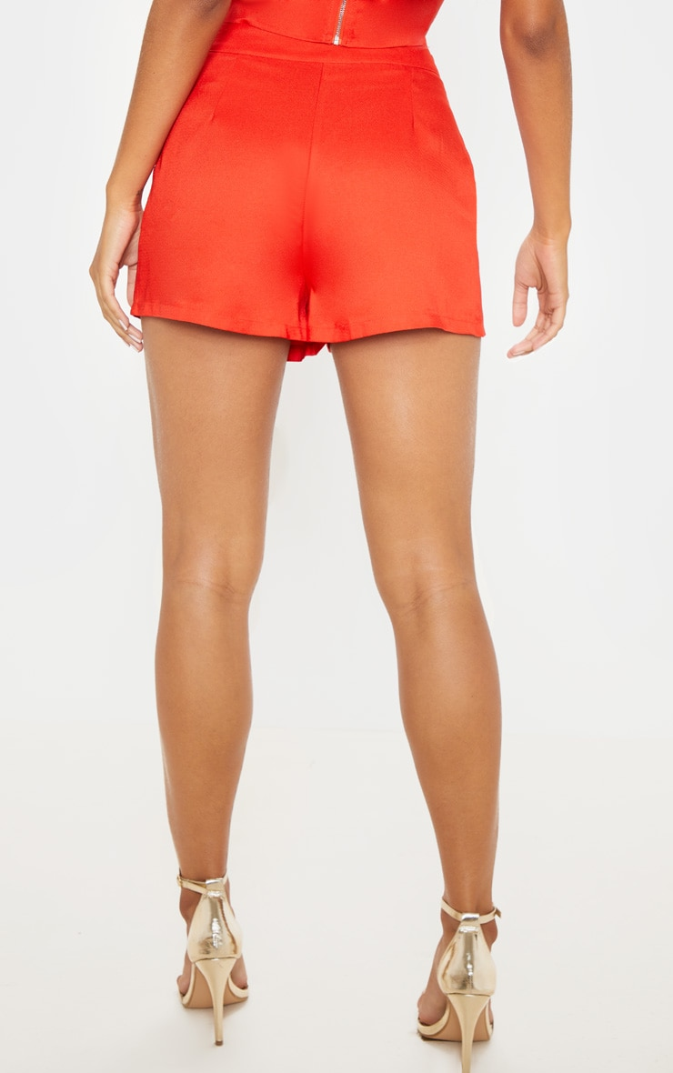 Red High Waisted Shorts 4