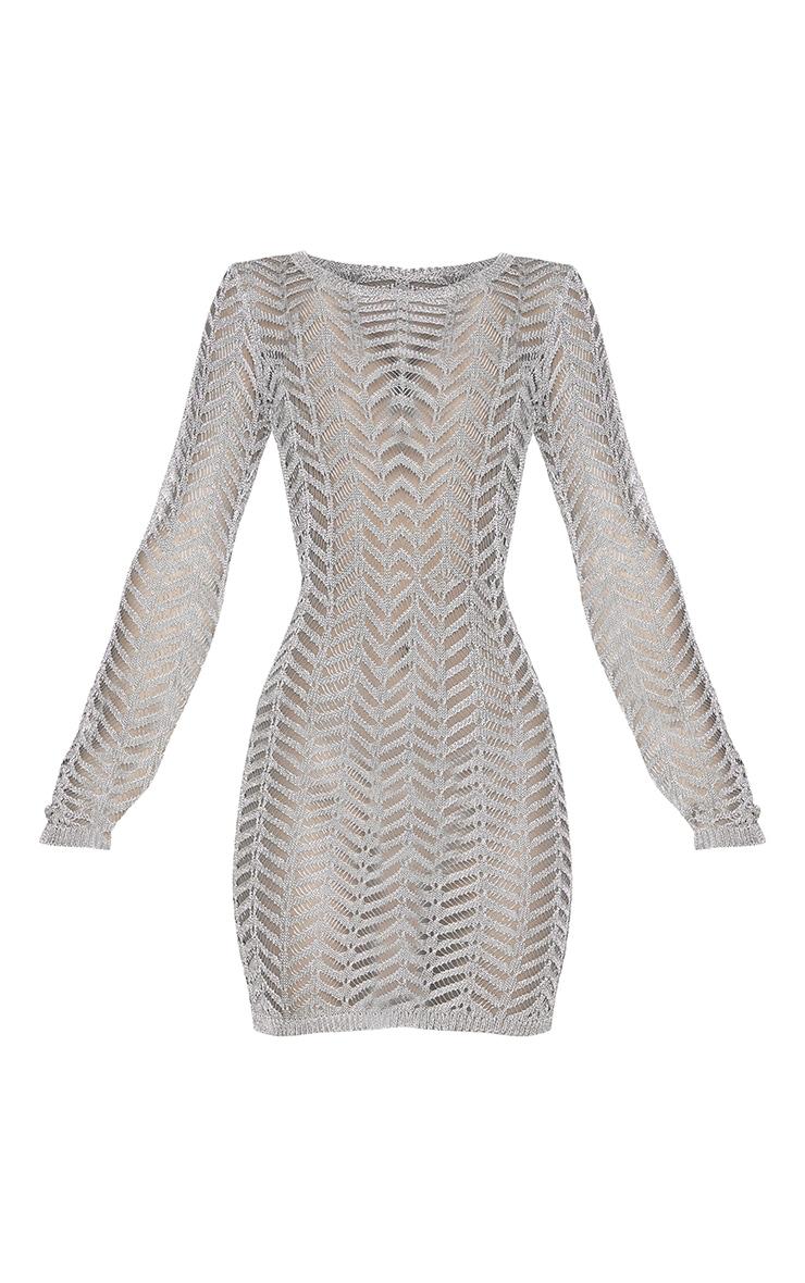 Rose Gold Metallic Chevron Knitted Crochet Dress 5