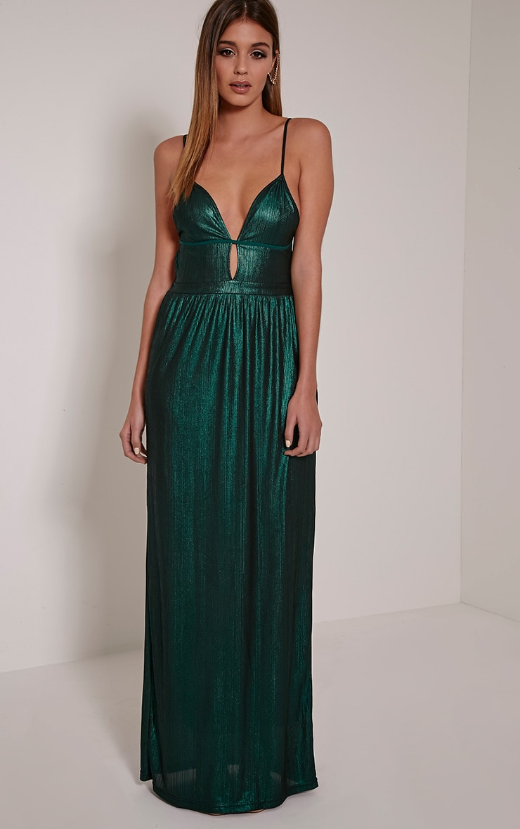 Lindiana Green Metallic Strappy Plunge Maxi Dress 1