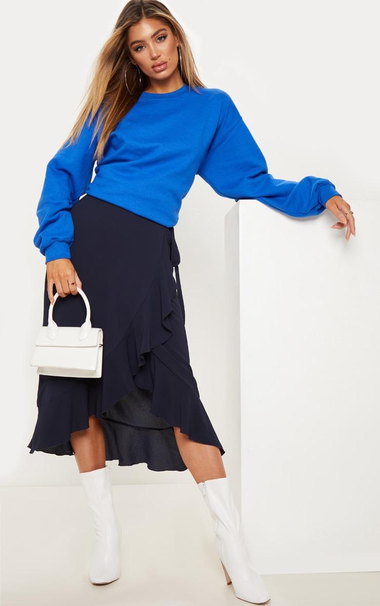 406444f74545 Navy Tie Waist Wrap Skirt | Skirts | PrettyLittleThing AUS