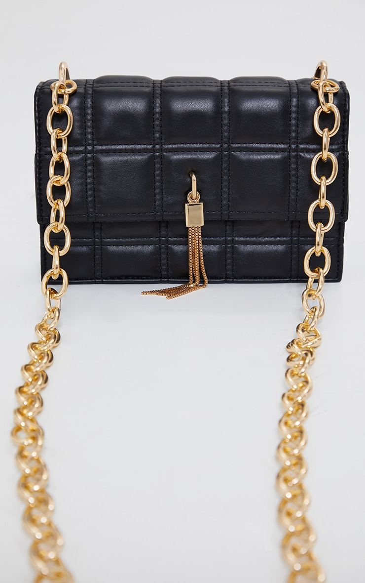 Black Mini Square Quilted Chunky Gold Chain Cross Body Bag 2