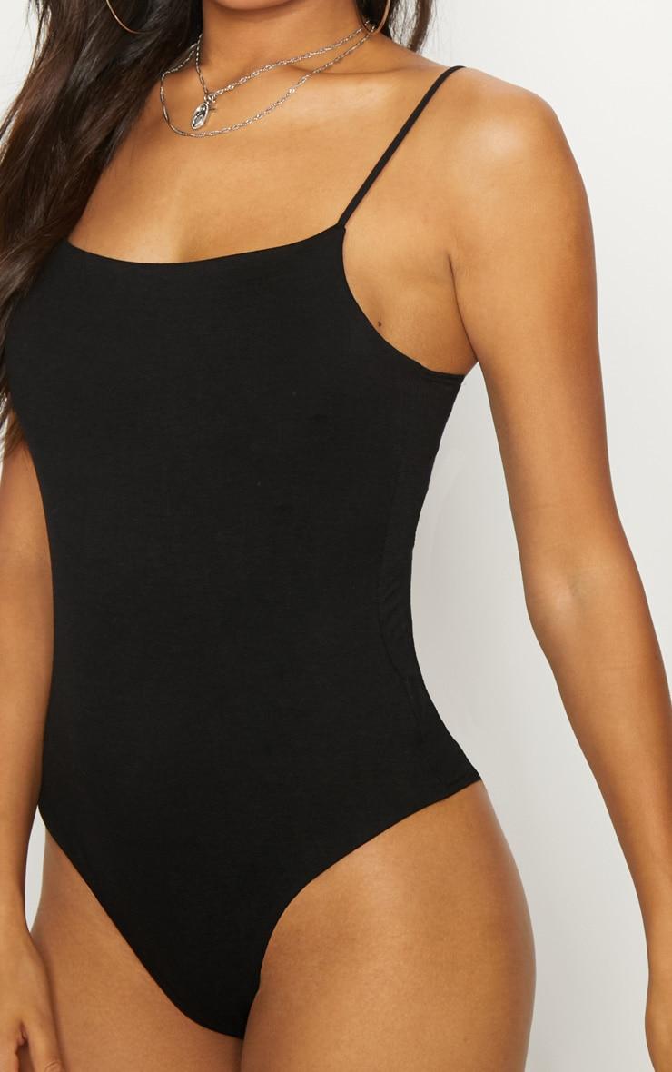Black Jersey Spaghetti Strap Thong Bodysuit  6