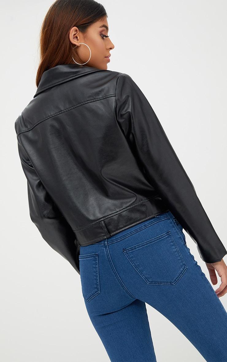 Black PU Biker Jacket With Pockets 2