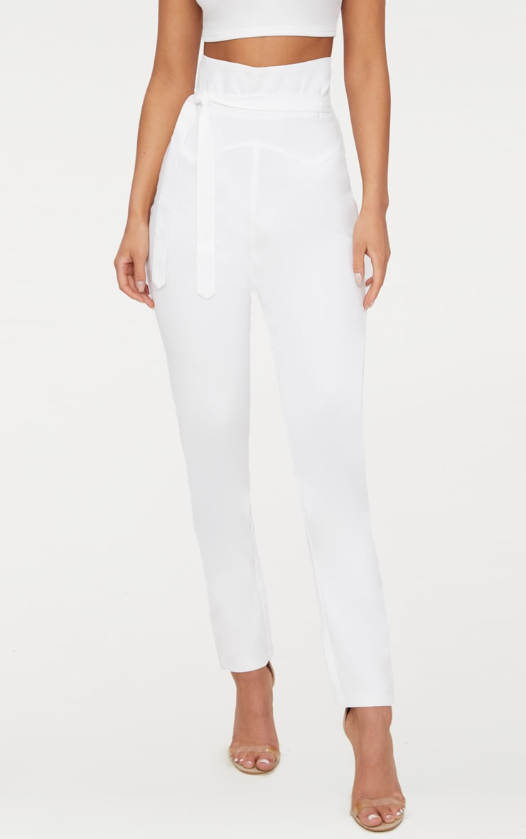 White High Waisted Tie Detail Slim Leg Trousers 2