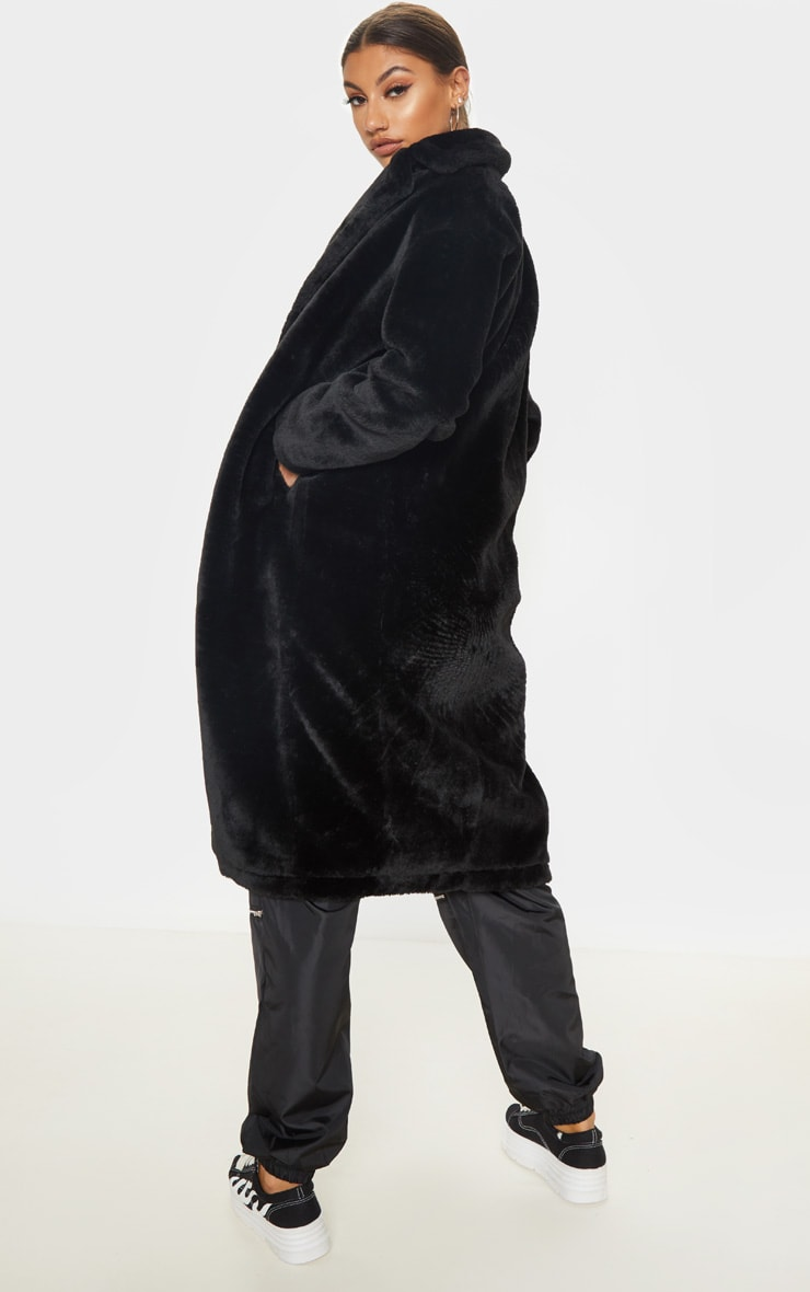 Tall Black Faux Fur Long Line Coat 2