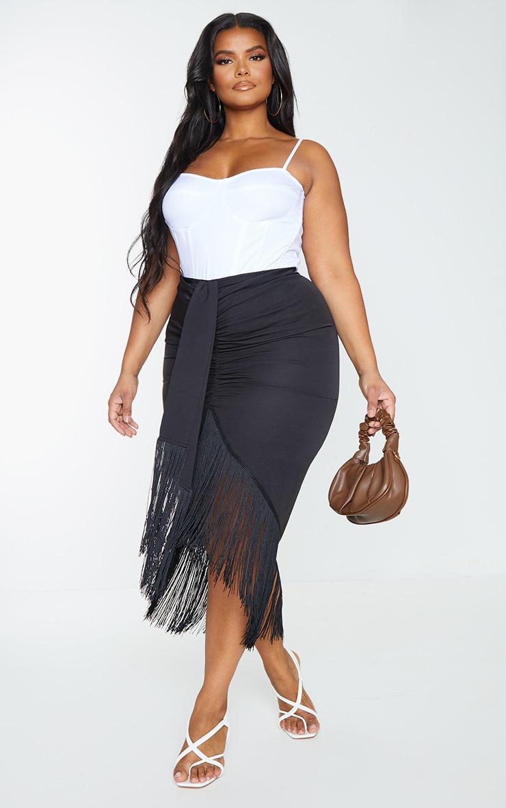 Plus Black Tassel Hem Midi Skirt 1
