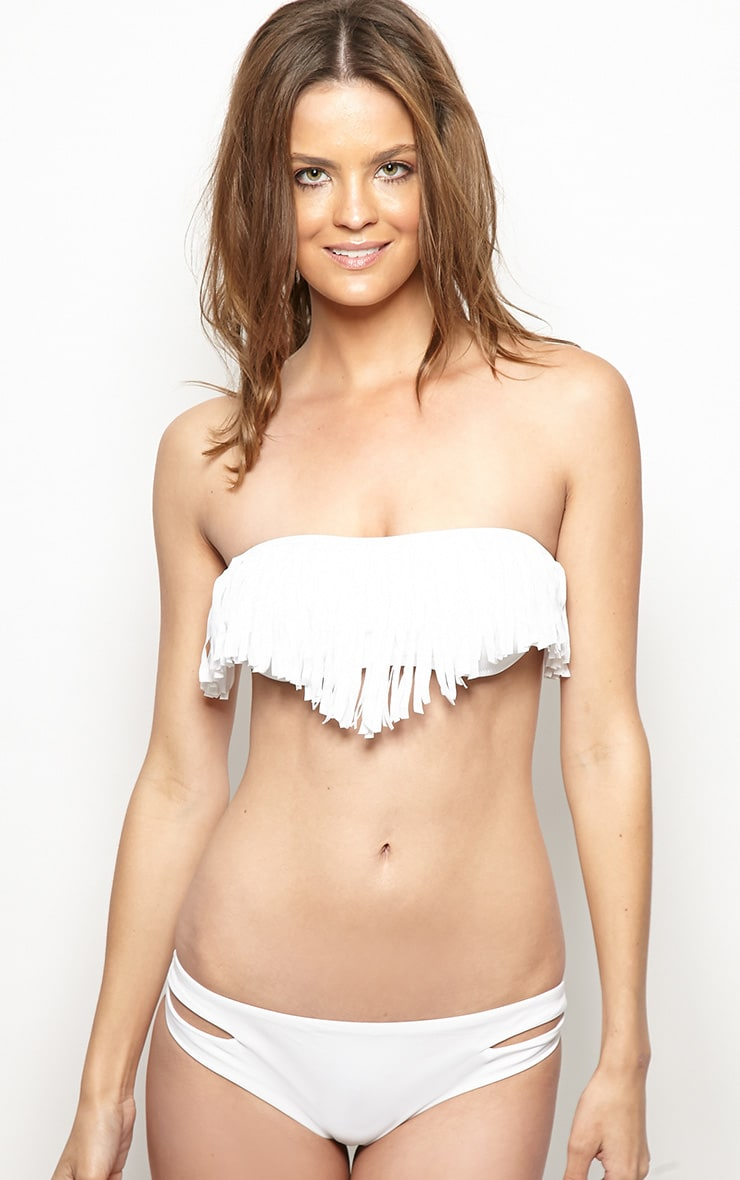 Mikayla White Tassle Bikini Top 4