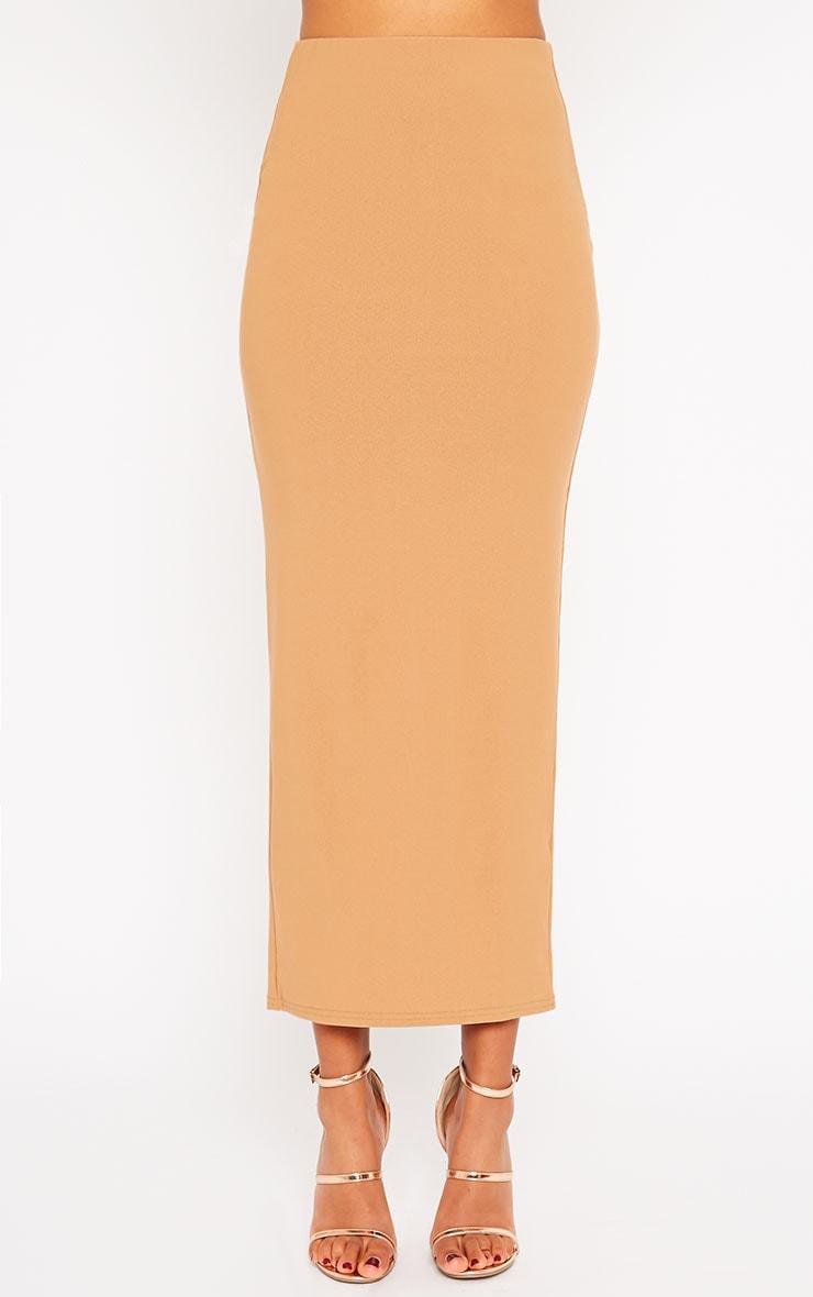 Zafia Camel Crepe Split Maxi Skirt 3