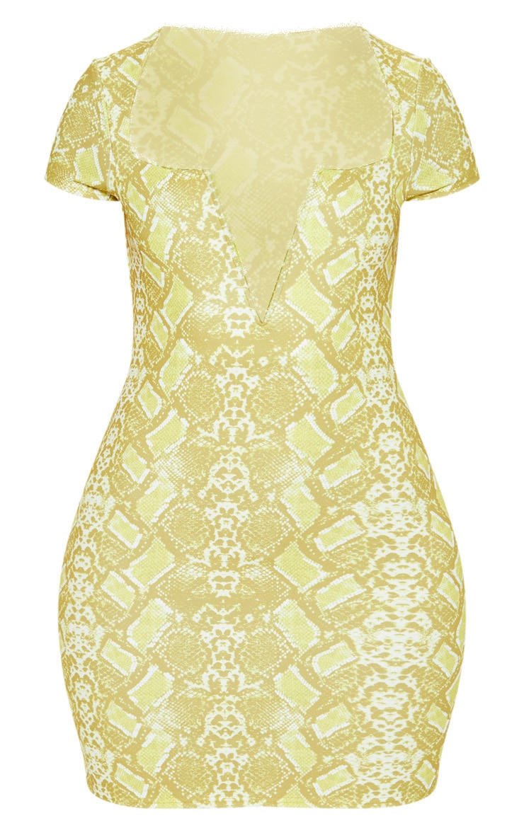 Yellow Snake Print Short Sleeve V Plunge Bodycon Dress 3