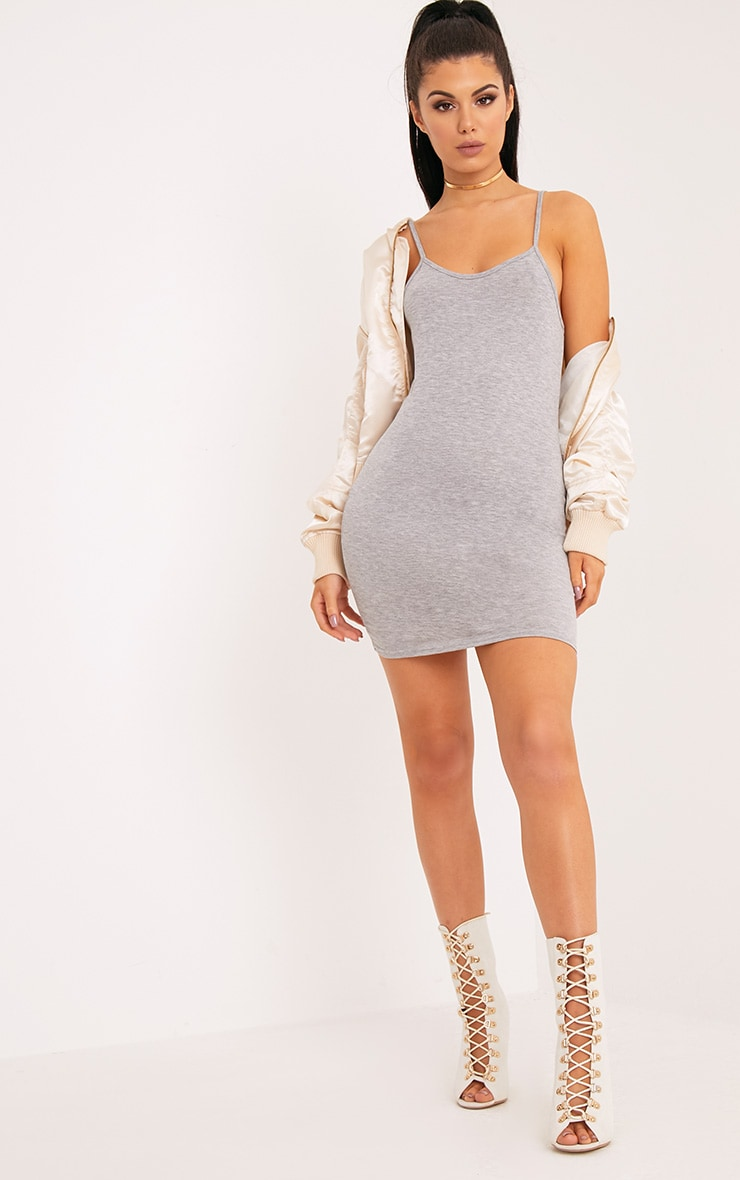 Basic Grey Marl Strappy Scoop Neck Bodycon Dress 1