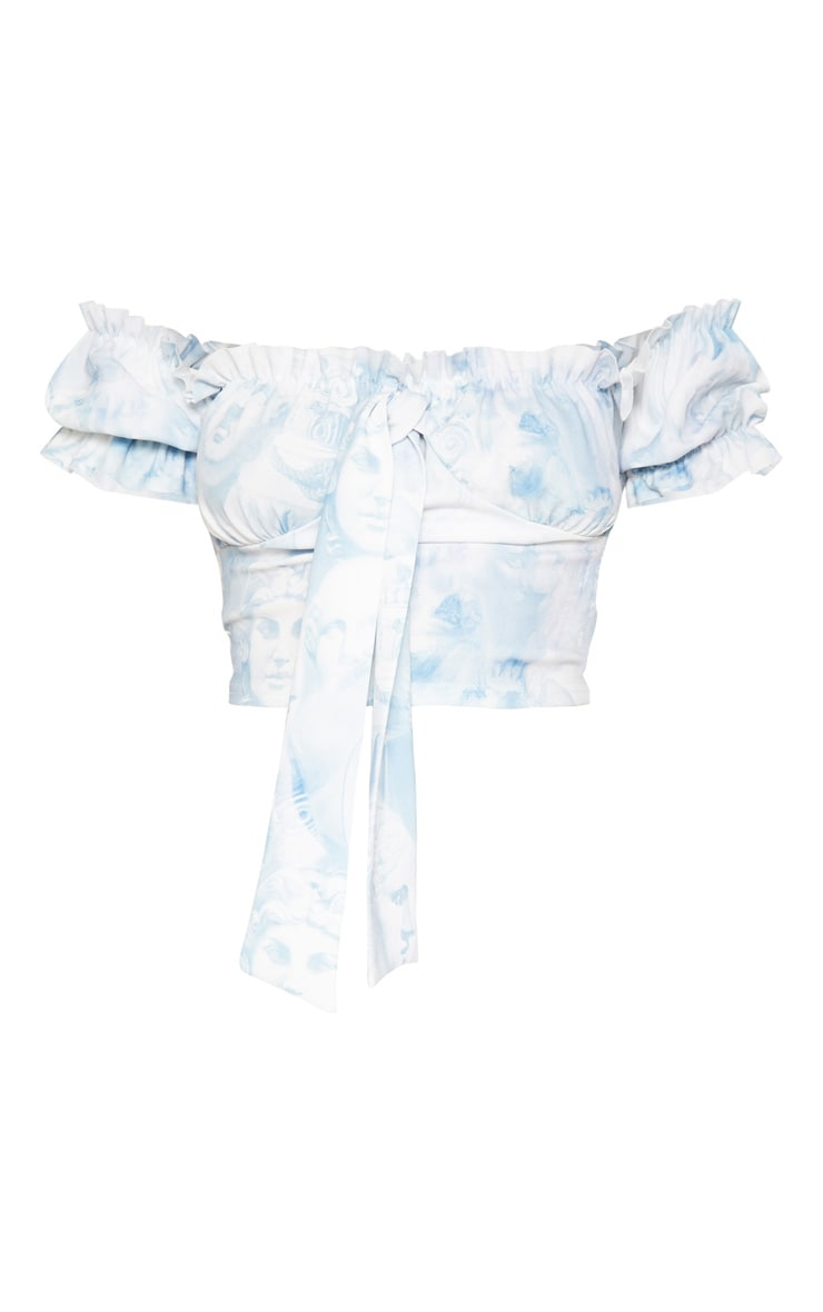 Pastel Blue Renaissance Print Milkmaid Top 3