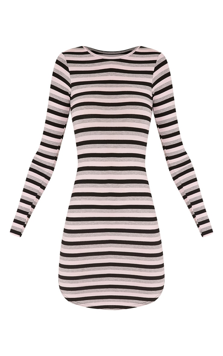 Peetra Pink Long Sleeve Curved Hem Stripe Dress 3