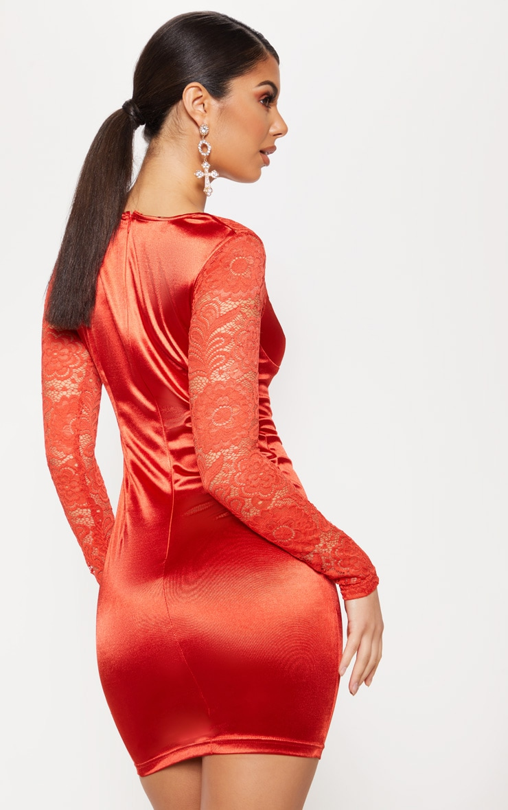 Red Satin Lace Sleeve Bodycon Dress 2