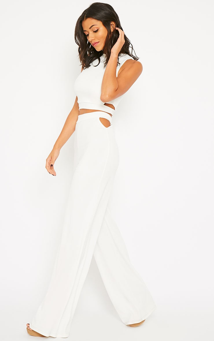 Elphina White Crepe Cut Out Trousers 1