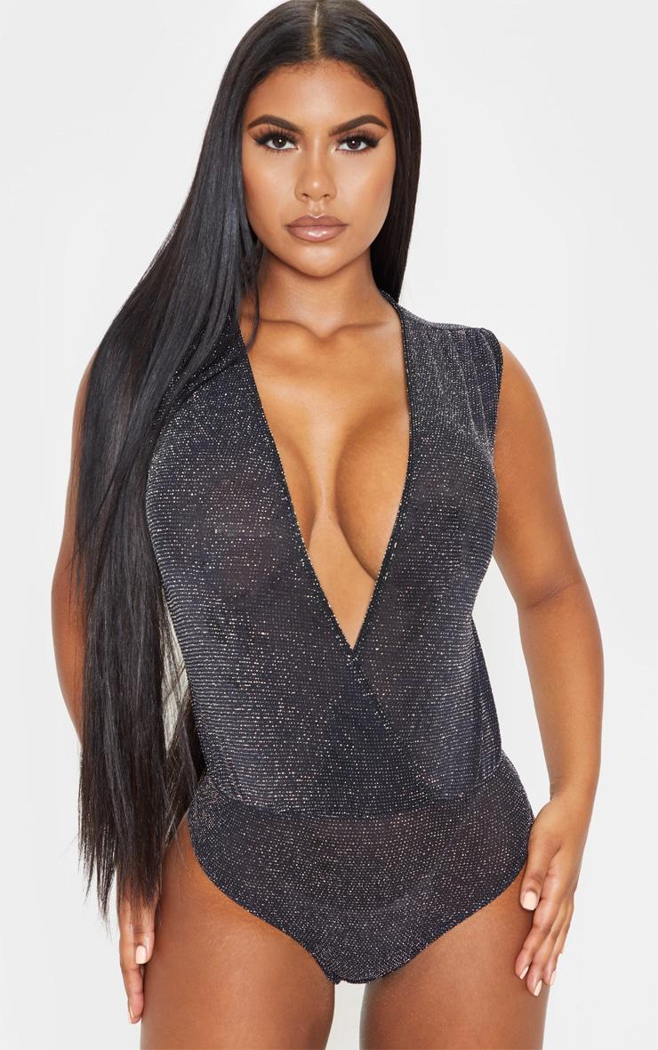 Black Textured Glitter Deep Plunge Bodysuit 2
