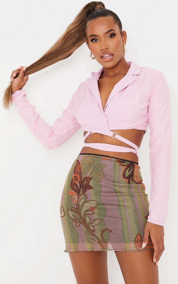 Mini-jupe en mesh vert imprimé tourbillons à ourlet légèrement volanté 4