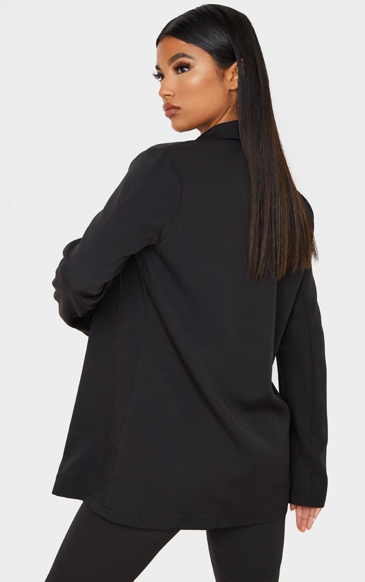 Black Woven Long Sleeve Blazer 3